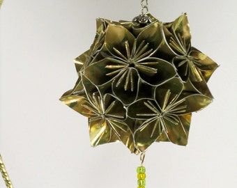 50th GOLD ANNIVERSARY Gift  Kusudama Modular Origami HANDMADE in Shimmery Gold Metallic Paper, Displayed on Metal Ornament Stand OOaK
