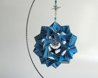 WEDDING CENTERPIECE DECORATION 3D Modular Origami Home Décor HANDMADe w/Metallic Stripes of Blue Shades on Silver Metal Ornament Stand OOaK