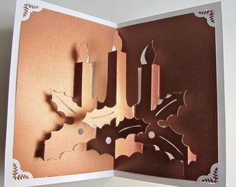 Christmas Candles Pop Up Greeting Card Home Décor 3D Handmade Cut by Hand Origamic Architecture in Festive Golden Copper and White.
