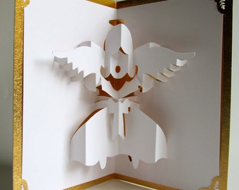 ANGEL 3D Pop Up Greeting Card Home Décor Handmade Cut by Hand Origamic Architecture in White and Metallic Shimmery GOLD.
