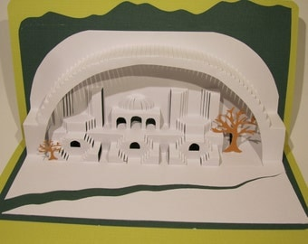 3D Pop up Paper Sculpture Home Décor ORIGINAL Origamic Architecture DESIGN of Mediterranean Landscape in White, Lime and Green OoAK SIGNED