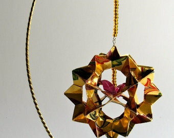 CHRISTMAS GIFT Ornament Home Décor 3D Modular Origami Handmade Of Gold Washi Paper with Flowers Print Design on an Ornament Stand. OOaK