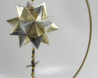 CHRISTMAS Gift Ornament Home Décor Modular 3D Origami Star Ball, HANDMADe in Metallic Gold and Silver on Gold Tone Ornament Stand OOAK