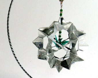 Ornament Decoration 3D Modular Origami Handmade in Shimmery Metallic Silver With Green Crane on Ornament Stand One Of A Kind OOAK