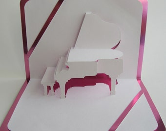 SU2C GRAND PIANO 3D Pop Up Card Origamic Architecture Home Decoration,  Handmade, Handcut, , in White and Bright Shimmery Pink. OoAK.
