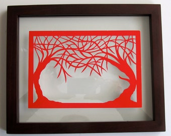 MOTHER'S DAY Gift 2 Trees Of Life RED Silhouette Paper Cut Wall and Home Décor, Original Design - SIGNeD Symbolic Art, Hand Cut OoAK