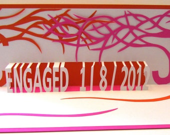 ENGAGEMENT ANNOUNCEMENT Pop Up Card CUSTOM ORDeR w/Two Trees of Life w/the Initials as Tree Trunks in White, Orange and Pink Fuchsia. OOaK.