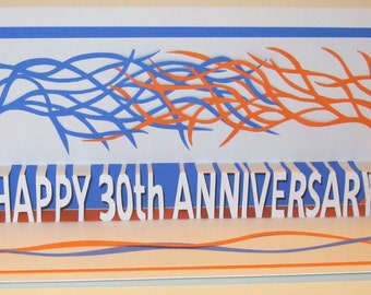 30th ANNIVERSARY Pop-Up Card WISHES with Two Trees of Life in White, Purple and Orange CUSTOM ORDeR One of A Kind