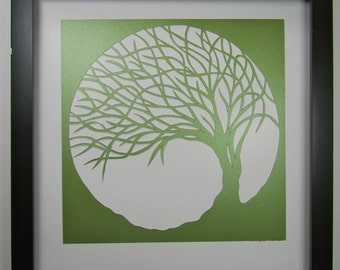 St PATRICK Day Gift Trees Of Life Wall and Home Décor Silhouette Cutout ORIGINAL Design SIGNED Symbolic Art HANDMADe  Framed One Of A Kind
