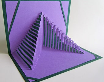 GRADUATION STEPS To SUCCESS Pop Up 3D Card Home Decoration Handmade Origamic Architecture in Purple and Forest Green One Of A Kind
