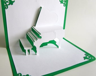 GRAND PIANO 3D Pop Up Card Origamic Architecture Home Decoration Handmade Handcut in White and Bright Shimmery Metallic Green