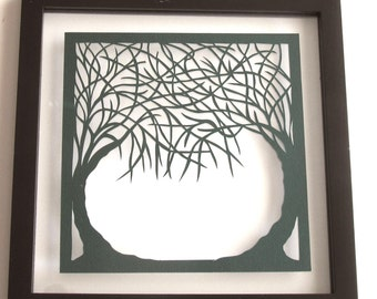 Trees Of Life Silhouette PAPER Cut ORIGINAL Design in Forest Green SIGNED Wall/ Home Décor 1st Anniversary Gift HANDMADe  Framed OOaK