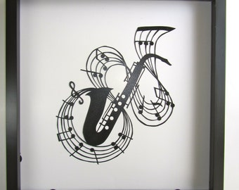 SAXOPHONE w/MUSIC NOTES Black Silhouette PAPeR CuT for MUSiC LOVeRS Wall and Home Décor Handmade Signed Framed One Of A Kind