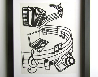 40th BIRTHDAY GIFT Custom Order Music Notes Accordion Computer Camera Black Silhouette Paper Cut Handmade ORIGINAL Wall and Home Décor OOaK