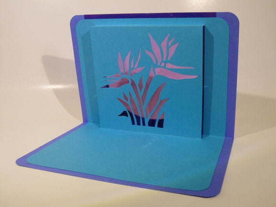 BIRTHDAY 3D Pop Up Greeting Card Bird Of Paradise Silhouette Cutout Original Handmade Design in Turquoise and Purple One Of A kind