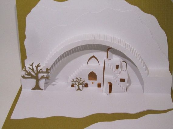 Mediterranean Landscape 3D Pop up Card ORIGINAL DESIGN of Origamic Architecture in White and Mustard Yellow Home Décor SIGNED One of a kind