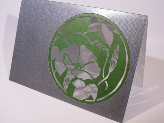St Patrick GREETING Card ORIGINAL DESIGN Handmade Silhouette Cutout of Morning Glory Flower Cutout in Olive Green and Silver One Of A Kind