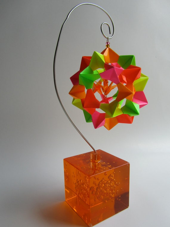 Ornament Home Décor 3D Modular Origami HANDMADE With Bright Fluorescent Neon Colors on an Ornament Stand OOAK