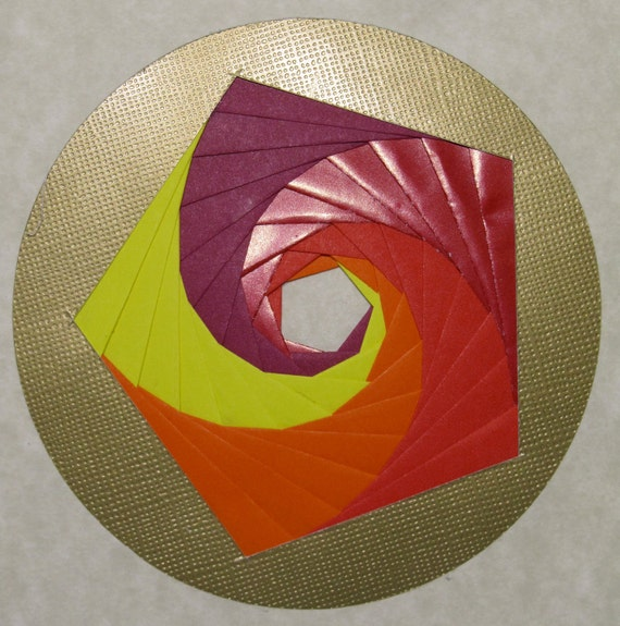 Greeting Card w/Spectacular Pentagon Handmade Iris Folding in Yellow Orange Red Shimmery Red and Burgundy On Gold OOAK