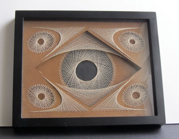 STRING ART Abstract GEOMETRIC Original Design Home Décor Wall Art Framed and Signed Handmade In Earth Tones of Light Brown and Beige OOaK
