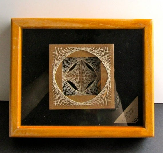 GRADUATION GIFT Geometric String Art ORIGINAL Design Abstract Home Décor Wall Art Handmade Light Brown and Beige Earth Tones One of a Kind