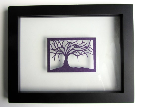 ACEO Tree Of Life Silhouette Cutout Original Design Elegant Handcut Floating in a Frame and Turned Into Wall Art OOAK Signed by Artist