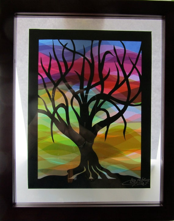 Home Décor Wall Art Tree Of Life Silhouette Cutout, Rainbow Colors Handmade/Hand Cut Original Design, Rainbow Colors Framed & Signed OOAK