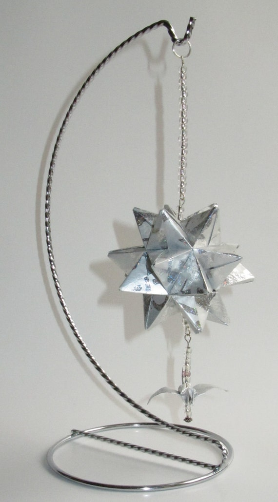MOTHERS Day GIFT Home Décor Modular 3D Origami Spiked Icosahedron Handmade of Shimmery Embossed Silver Paper on Silver Metal ornament OOAK