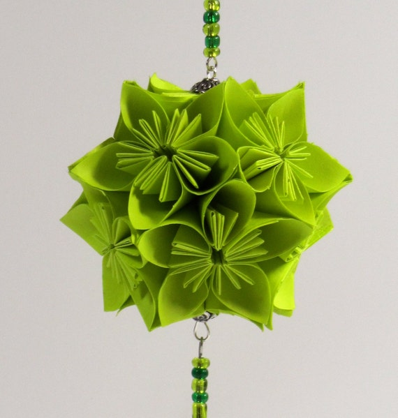 CHRISTMAS Ornament Holiday Decoration Home Décor KUSUDAMA Modular Origami Handmade in Neon Fluorescent Green on Ornament Stand OOaK