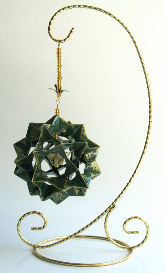 MOTHER'S DAY GIFT Ornament Decor 3D Modular Origami HANDMADe in Green W/Gold Printed on Gold Tone Metal Ornament Stand One Of A Kind