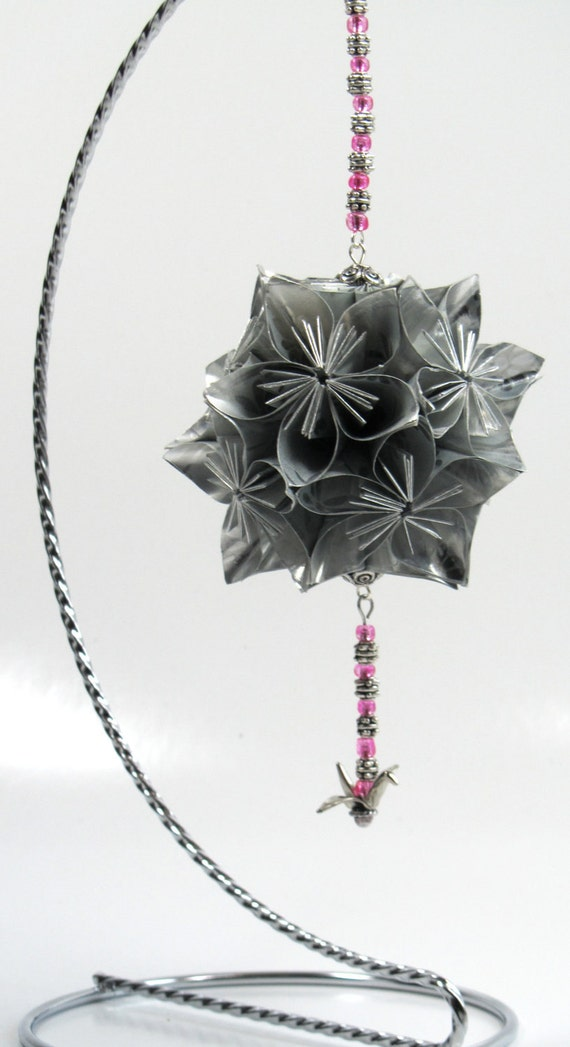 MOTHERS DAY Gift Decoration Home Décor KUSUDAMA Modular Origami Handmade in Metallic Shimmery SILVeR, on Ornament Stand OOaK