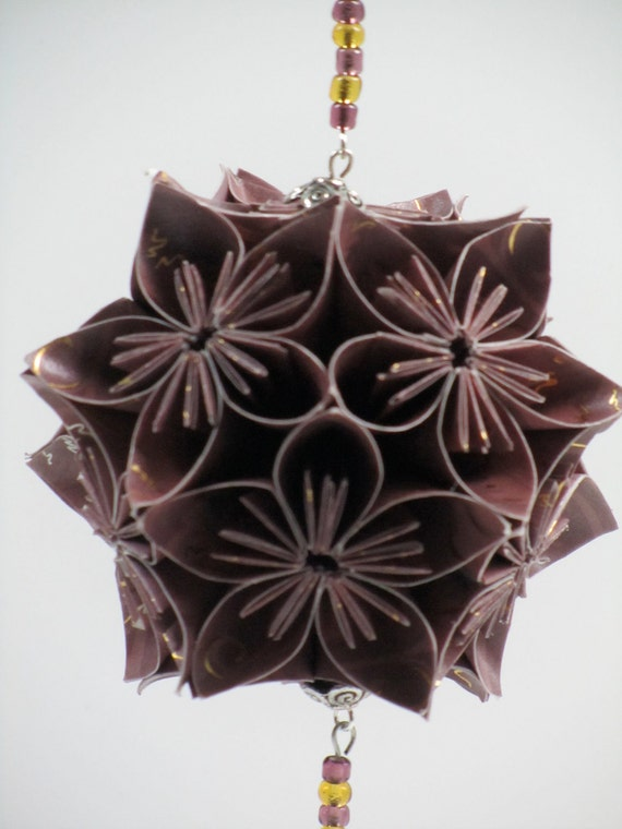 Ornament Home Décor KUSUDAMA Modular Origami HANDMADE in Burgundy w/Gold Embossed Paper, on Ornament Stand One Of A Kind