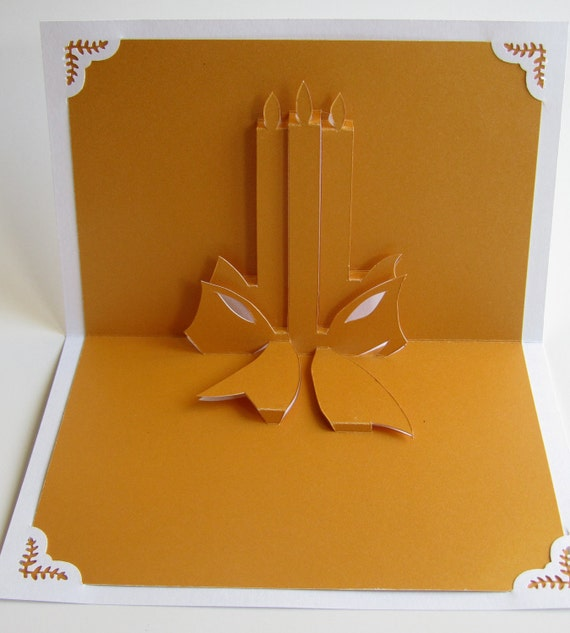 CHRISTMAS Candles 3D Pop Up Greeting Card Home Décor Handmade Cut by Hand Origamic Architecture in Bright Golden Yellow and White.
