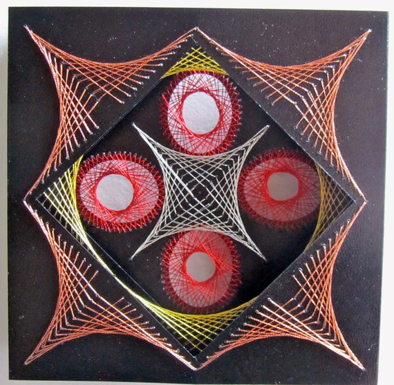 String Art Home Décor Wall Art original Geometric Design Handmade with Harmony of Metallic Gold Silver Copper Red One Of A Kind