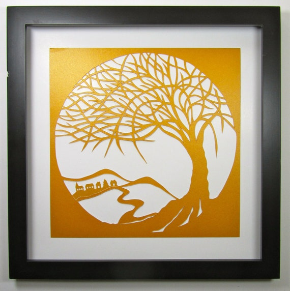 FATHER'S DAY Gift Tree Of Life Wall and Home Décor Silhouette Paper Cut in Gold ORIGINAL Design SIGNeD Symbolic Art HANDMADe  Framed OOaK