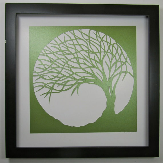 St Patrick's Day Gift Trees Of Life Wall and Home Décor Silhouette Cutout ORIGINAL Design SIGNED Symbolic Art HANDMADe  Framed One Of A Kind