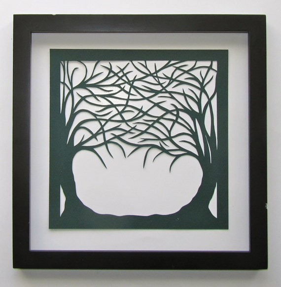 1st ANNIVERSARY GIFT Trees Of Life Silhouette Paper Cut ORIGINAL Design in Forest Green SIGNeD Wall/ Home Décor HANDMADe  Framed OOaK