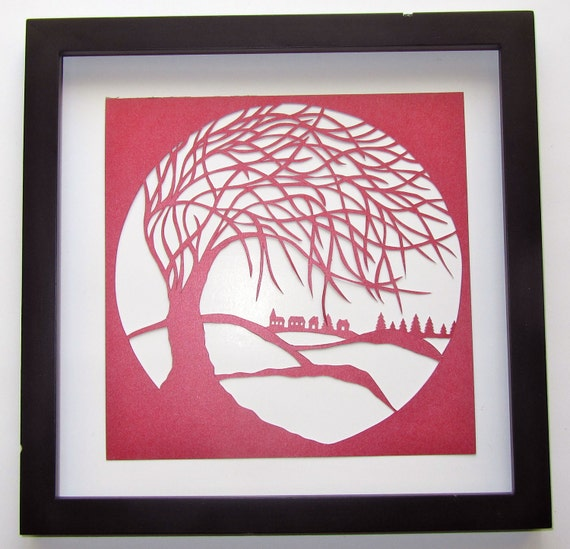 Tree Of Life Silhouette PAPER Cutout Wall Art and Home Décor ORIGINAL Design SIGNED Symbolic Art Handmade Framed One Of A Kind