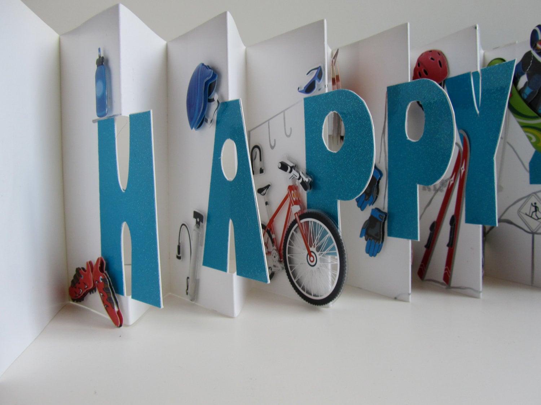 HAPPY 40th Birthday Original Design Accordion Pop Up BookCard – Handmade Birthday Cards Designs