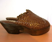 Seventies Woven Leather and Wooden Platform Clogs- size 7 or 7.5