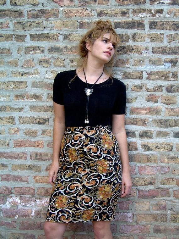 90s Baroque Print Skirt- Ochre, Peach, White and Black Swirls