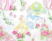 gz011/1802 - 34cm x 90cm - Disney Cartoon Characters Cotton Fabric - Disney Princess and Rose - White