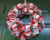 Holiday Ribbon Wreath - Green, Red, White and Gold