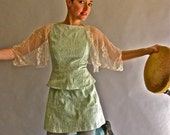 Summer wine-Last one-light green handmade tight mini dress/tunic 50s style in stock sizes: M