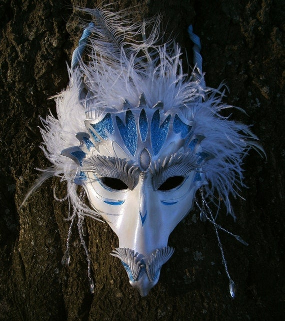 Beautiful Shiver - Snow Dragon Leather Mardi Gras Masquerade Carnivale Mask MADE TO ORDER