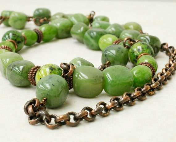 Green Jasper and Brass Chain Necklace