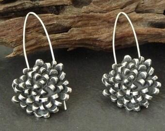 Flower, Sterling silver earrings