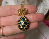 Vintage Green and Gold Egg Necklace