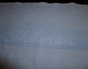 feedsack with cow, Vintage Eshelman's Red Rose, white and blue, Free shipping