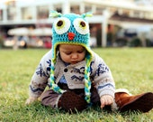 Crochet Baby Boy Owl Hat - Bright Blue, Lime Green, and Cream